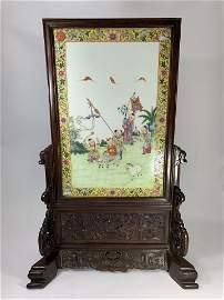 A Chinese Qing Rose Wood Famille Jaun Porcelain Screen