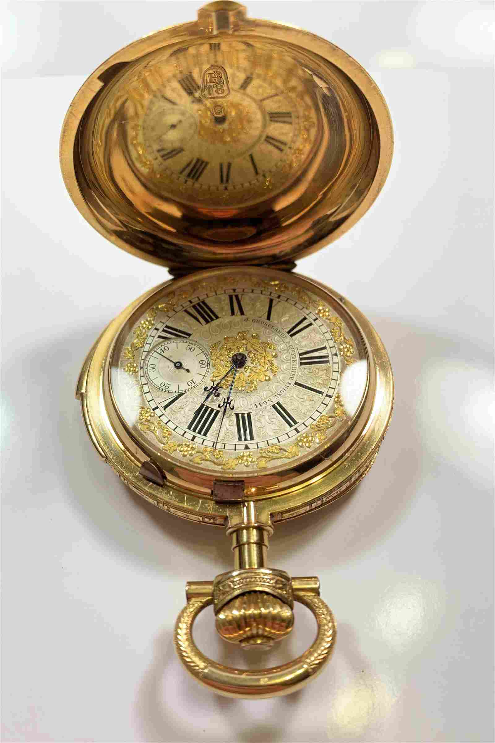 Grosclaude 18k Gold Minute Repeater Pocket Watch
