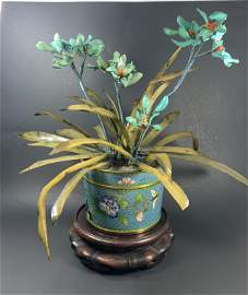 A Chinese Early 20th Turquoise Coral & Jade Flowers