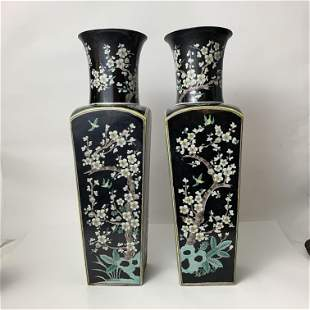 A Chinese Pair of Famille Noire Prunus Square Vases