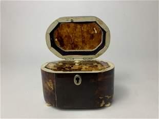 A Victorian Tortoise Shell Silver Tea Caddy Chest Box