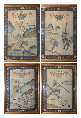 A SET OF 4 Chinese 18th Century Silk Kesis