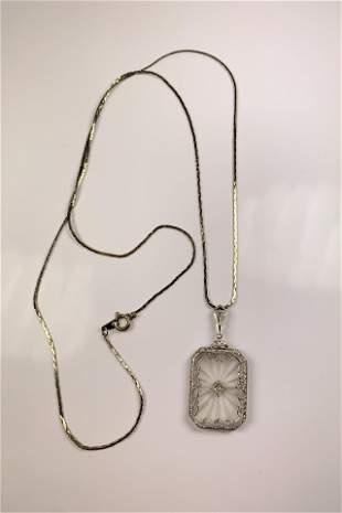 Art Deco 14k Gold Rock Crystal & Diamond Pendant