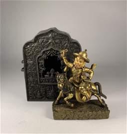 Finely Cast Qianlong Gilt Bronze Bodhisattva & Silver