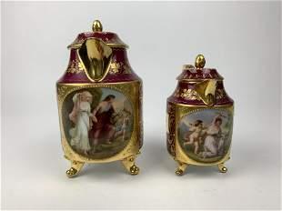 A Hand Painted Gilt Royal Vienna Porcelain Set