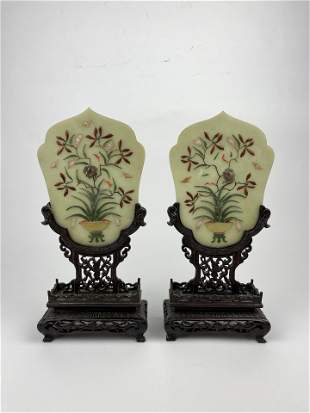 A Chinese 19th Pair of Jade Hard Stone Table Screens