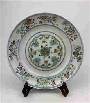 A Chinese Doucai Eight Buddhist Emblem Porcelain Dish
