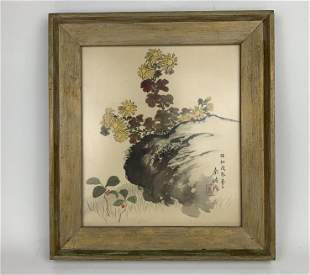 A Chinese Framed Watercolor Painting of Flowers on