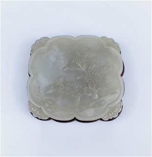 A Chinese Carved White Jade Plaque, Qing Dynasty