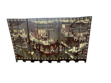 A Chinese Kangxi Double Sided Eight Panel Screen