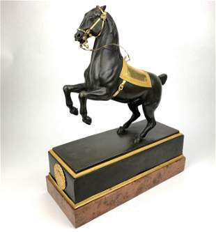 A 19th Century Marble Mounted GIlt Bronze Rearing Horse