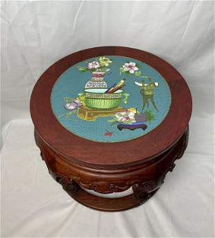 A Chinese Cloisonne Plaque Mounted Hardwood Stool