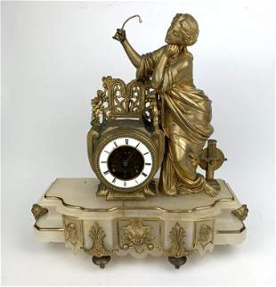A 19th Century Gilt Metal Mounted Alabaster Table Clock