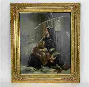 """An 19th Century Gilt Wood Framed Oil Painting """"In The"""