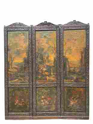 Important 17th Century Italian 3 Panel Leather Screen