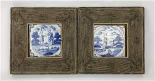 A Pair of Dutch 18th Century Framed Blue & White