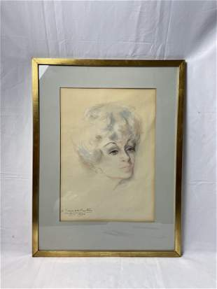 A 1970s Signed Sketch Portrait