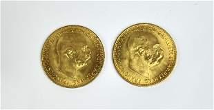 A Lot of Two Austria Gold 10 Coronas AGW .098 Coins
