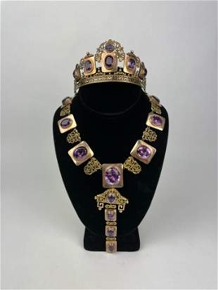 A Victorian 22k Gold Amethyst Tiara Necklace Set