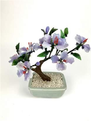 A Chinese Vintage Miniature Hardstone Flower Bonsai