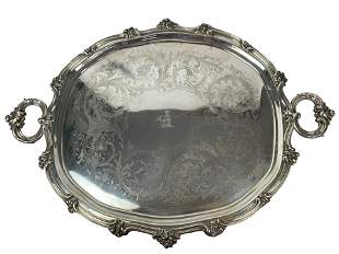 Large 19th Century French Sterling Silver Serving Tray