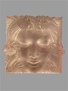 A Lalique Frosted Glass Masque de Femme Plaque