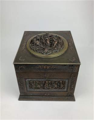 A Rare H & A Victorian Silver Bronze Casket Box