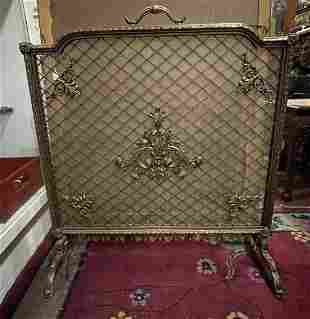 A French Gilt Bronze Fireplace Screen