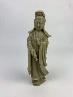 A Chinese Soap Stone Carved Guanyin