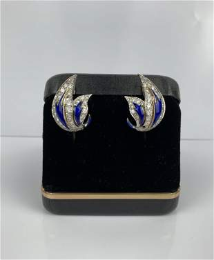 A Pair of 14k Gold Diamond Enamel Clip Earrings