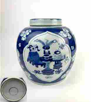 A 19th Century Chinese Blue & White Porcelain Ginger