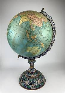 A Chinese Revolving Globe Mounted on Cloisonne Stand