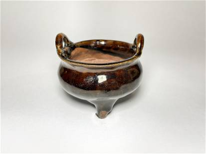 A Chinese Qing Brown Glazed Yixing Censer