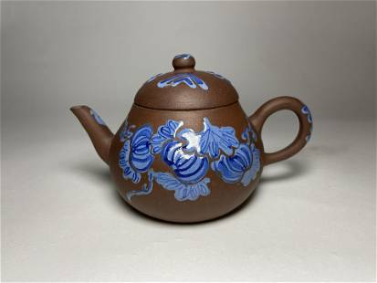 A Chinese 19th Century Blue Glazed Yixing Teapot