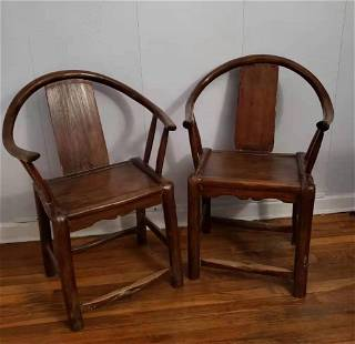 A Pair of Chinese 19th Hardwood Chairs