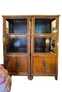 A Large Chinese Pair of 19th Beechwood Display Cabinets