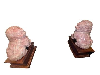 A Monumental Lively Pair of Chinese Rosequartz Foo Dog