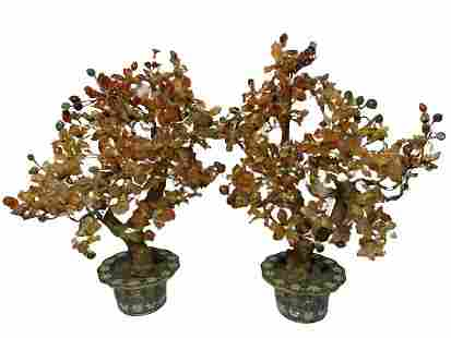 A Large & Impressive Pair of Chinese Agate Flower Trees