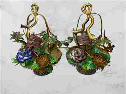 A Chinese Pair of Enamelled Gilt Silver Flower Basket