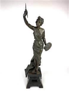 Emmanuel Villanis French Bronze Statue of Painter 19th