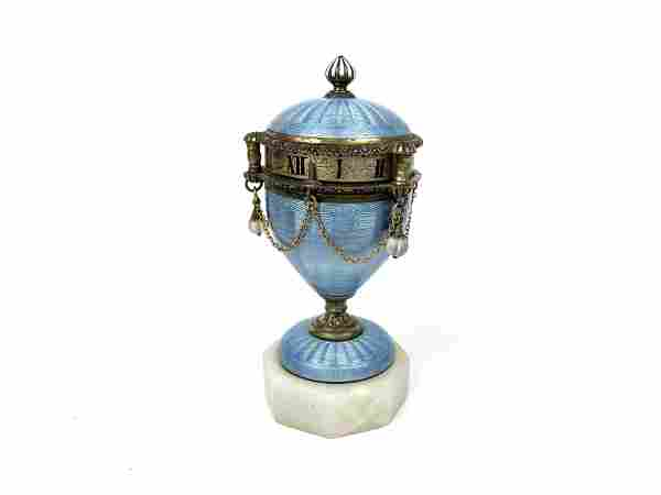A 19th French Blue Guilloche Enamel Silver Rotary Clock