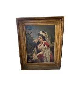 A Signed Spanish 19th Century Oil Painting Portrait