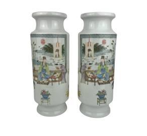 Chinese Pair of Porcelain Vases Qianlong Mark