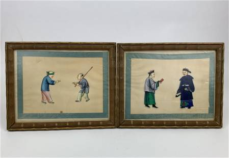 A Chinese 19th Pair of Pith Paintings on Rice Paper