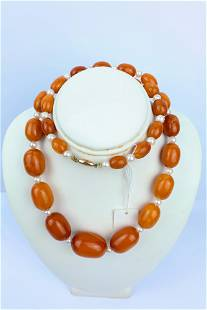 A Butterscotch Amber Pearl Bead Necklace