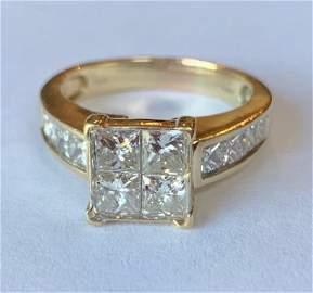 14k Princess Cut 2.89 Total Ct Diamond Ring