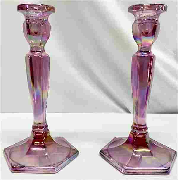 Pair Purple Fenton Candlesticks Pair of Fenton Purple