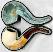M. L. C.Meerschaum Pipe in Leather Case Vintage M. L.