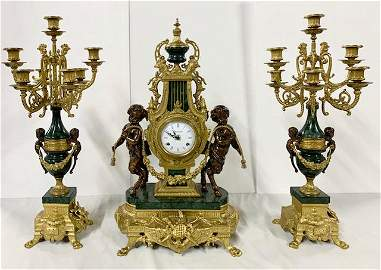 Brevettato Imperial Mantle Clock And 2 Candelabras