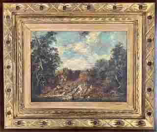 Antique Oil on Canvas Signed Van Gras Dutch